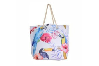 Tropical Tote Bag Handle Large Beach Shopping Summer Floral/Toucan/Palm Design - Toucan