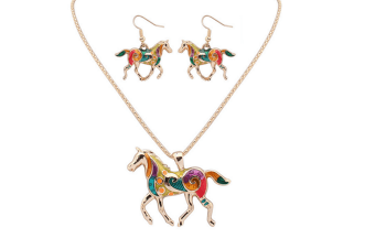 Trendy Fashion Rainbow Colored Horse Pendant Necklace With Earrings Jewelry Sets Gold