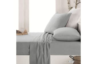 Easy-care Micro Flannel Sheet Set Grey King Single