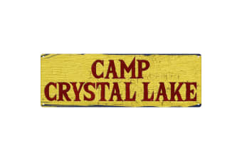Grindstore Camp Crystal Lake Slim Tin Sign (Yellow)