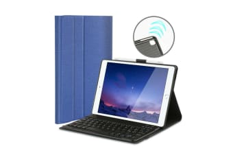 For iPad Air 3 2019 Wireless Bluetooth Keyboard With Leather Cover Case-Blue