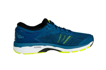 ASICS Men's Gel-Kayano 24 Running Shoe (Ink Blue/Black/Safety Yellow)