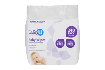 240pc BabyU Baby/Infant/Kids Alcohol/Fragrance Free Absorbent Wet Wipes