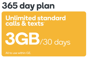 Kogan Mobile Prepaid Voucher Code: SMALL (365 Days | 3GB Per 30 Days) - No SIM