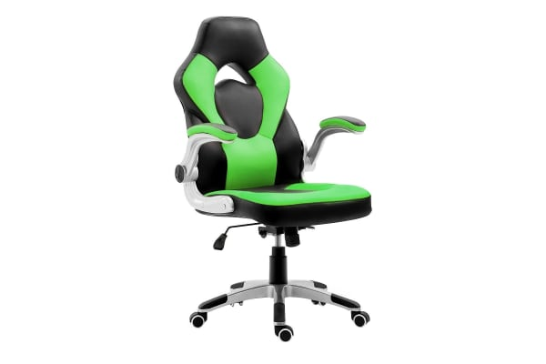 Executive PU Leather Office Computer Chair Ergonomic Sport Gaming Racing Seat - Green & Black