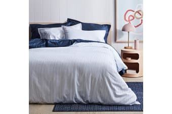 Canningvale 1000TC Quilt Cover Set - Queen Bed - Palazzo Linea  Crisp White with Eclipse Blue Stripe