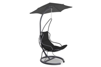 Gardeon Hanging Chair with Umbrella (Black)