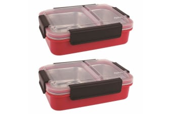 2PK Oasis 23cm Stainless Steel 2 Compartments Food Lunch Box Storage Watermelon