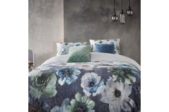 Composer Blue Grey Cotton Sateen Quilt Cover Set by Bedding House