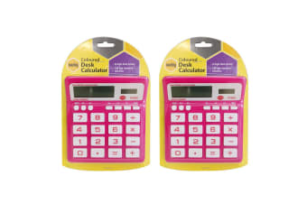 2PK Marbig Coloured Desk Calculator Pink