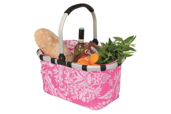 Avanti Foldable Carry Picnic Basket Carry Storage Shopping Bag Nylon Fleur Pink