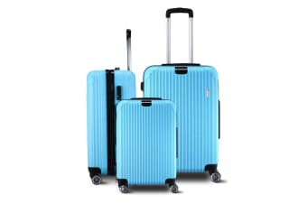 3 Piece Travel Carry On Luggage Suitcase Lightweight Trolley Set - Watchet Blue