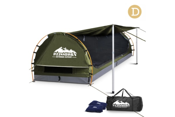 Double Camping Canvas Swag with Mattress and Air Pillow (Celadon)