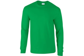 Gildan Mens Plain Crew Neck Ultra Cotton Long Sleeve T-Shirt (Irish Green)