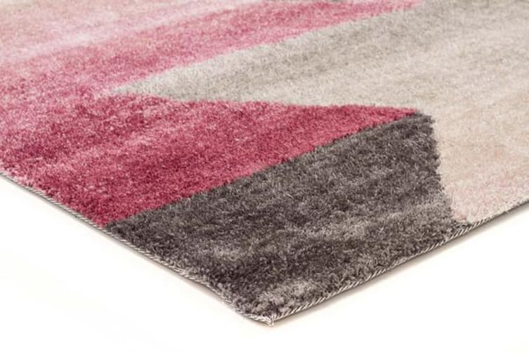 Penny Pink Grey Textured Multi Coloured Rug 320x230cm