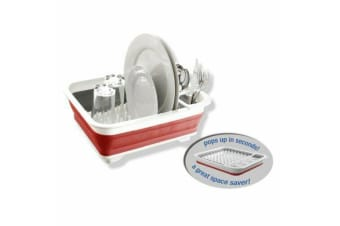 Dish Drainer/Drying Dish Collapsible Rack/strainer Cups Plates Utensils Caravan-Red