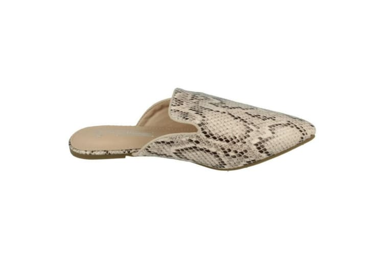 Anne Michelle Womens/Ladies Closed Toe Mules (Natural Snake Print) (5 UK)