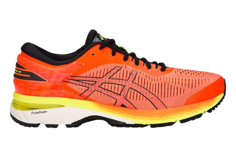 ASICS Men's Gel-Kayano 25 Running Shoe (Shocking Orange/Black, Size 9.5)