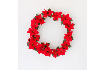 45cm Christmas Red Poinsettia Flower Wreath XMAS Home Wall Door Decoration