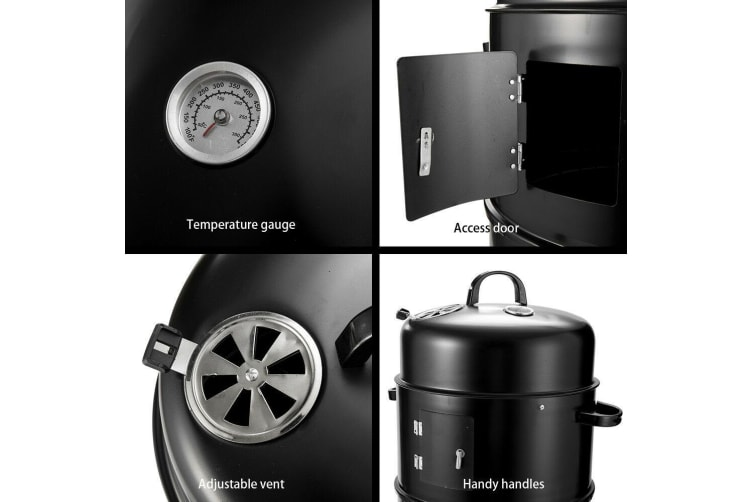 SAN HIMA 3in1 Portable Charcoal BBQ Vertical Smoker Roaster Grill Steel Water Steamer