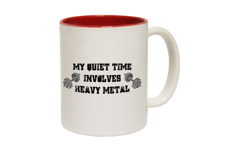 123T Funny Mugs - Swps My Quiet Time Heavy Metal - Red Coffee Cup