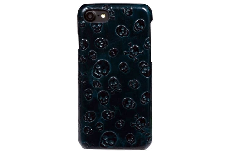For iPhone 8 7 Case Stylish Skulls Genuine Cowhide Leather Fashion Cover Green