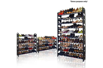 10-Tier Stackable Shoe Rack Steel Frame 50 Pairs