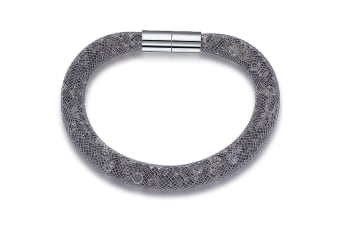 Mesh Single Wrap Bracelet w/Swarovski Crystals-Grey/Grey