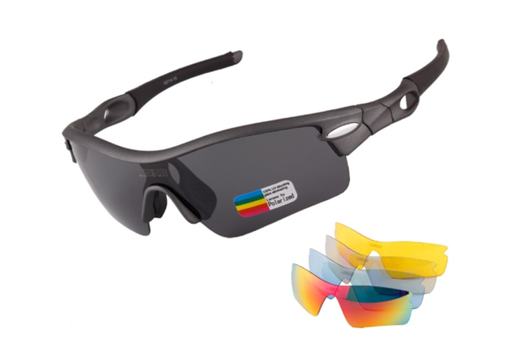 Outdoor Mountain Bike Riding Glasses Windproof Polarizing Glasses 5 Pieces Suit - Grey Grey 5Pcs