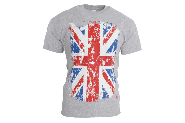 Mens Union Jack GB Print 100% Cotton Short Sleeve Casual T-Shirt/Top (Sport Grey) (XL - 46inch - 48inch)