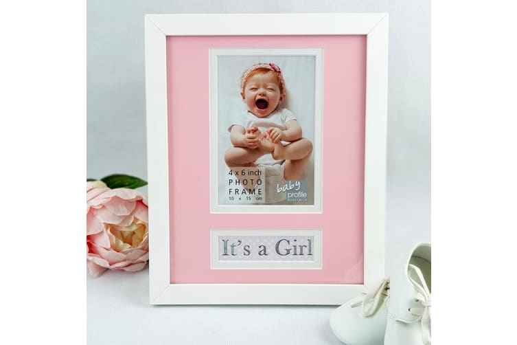 It's a Girl Personalised Photo Frame 4x6 White Wood