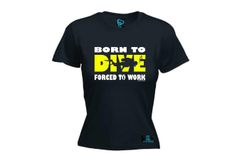 Open Water Scuba Diving Tee - Born To Dive - (Large Black Womens T Shirt)