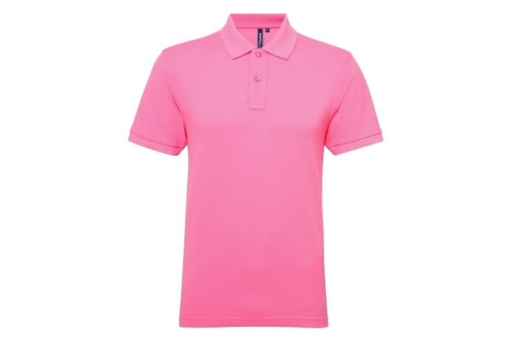 Asquith & Fox Mens Short Sleeve Performance Blend Polo Shirt (Neon Pink) (L)