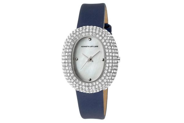 KJ LANE Women's Crystal White MOP Dial Blue Satin (KJLANE-2405S-03)