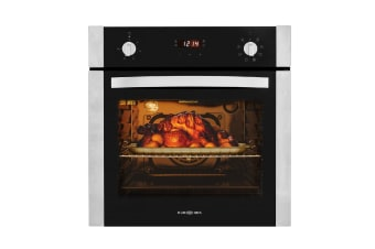 EuroChef 60cm Stainless Built-in 70L Grill 8 Function Fan Forced Electric Wall Oven