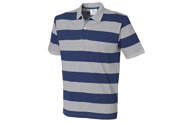 Front Row Mens Striped Pique Polo Shirt (Heather Grey/Navy) (XS)