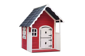 Keezi Kids Cubby House Wooden Playhouse Outdoor Cottage Children Play House Toys