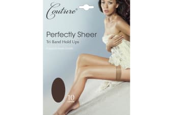 Couture Womens/Ladies Perfectly Sheer Tri Band Hold Ups (1 Pair) (Barely Black)