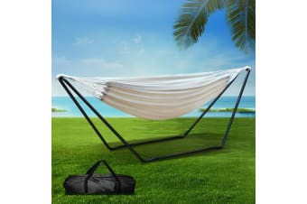 Double Hammock Steel Frame Stand Swing Chair Bed Carry Bag Outdoor