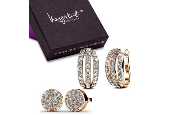 Set Of 2 Earrings w/Swarovski Crystals-Rose Gold/Clear