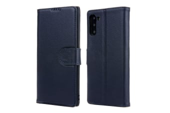 For Samsung Galaxy Note 10 Case Navy Cowhide Genuine Leather Flip Wallet Cover