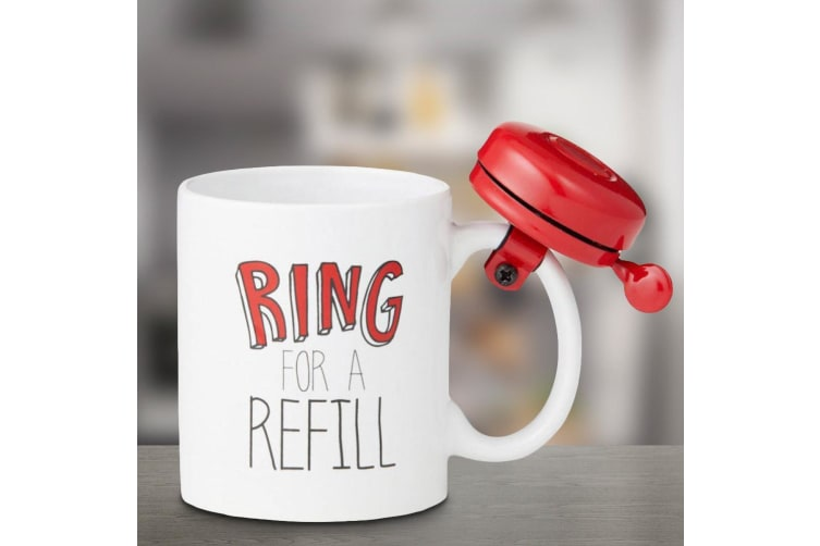 Ring For a Refill! Mug | The Novelty Bike Bell Mug With A REAL Bell!