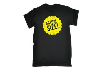 123T Funny Tee - Actual Size - (5X-Large Black Mens T Shirt)