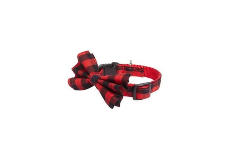 TippyTap Bow Tie Collar Red Tartan - M