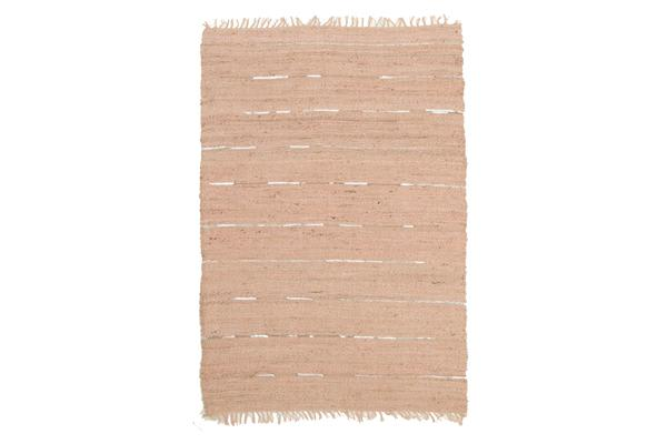 Saville Jute and Leather Rug Nude Pink 320x230cm