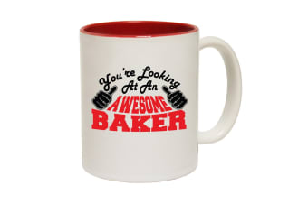 123T Funny Mugs - Baker Youre Looking Awesome - Red Coffee Cup
