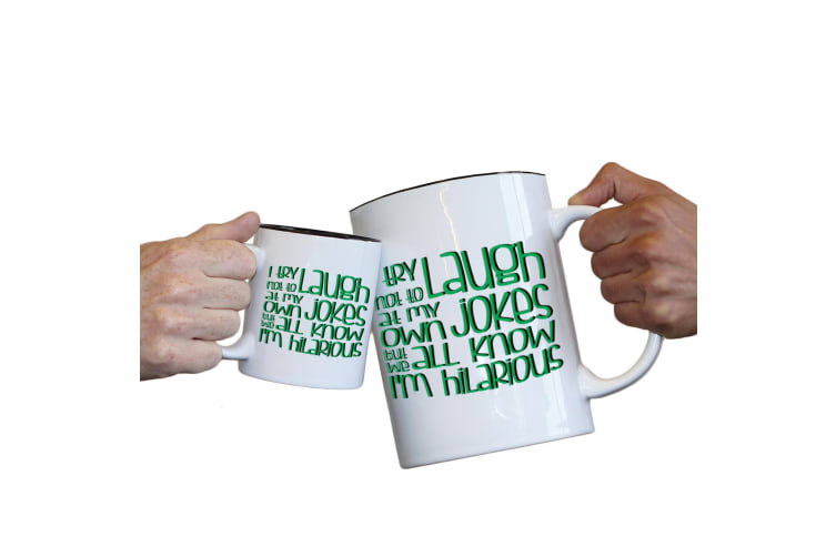 123T Novelty Funny Giant 2 Litre Mugs - I Try Not To Laugh At Own Jokes