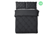 Giselle Bedding Diamond Stitch Quilt Cover Set (Super King/Black)