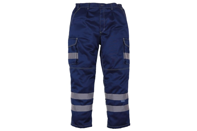 Yoko Mens Hi Vis Polycotton Cargo Trousers With Knee Pad Pockets (Pack of 2) (Navy) (28R)