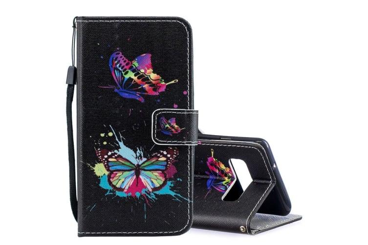 For Samsung Galaxy S10 Case Colored Butterfly Pattern PU Leather Folio Cover